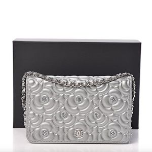{CHANEL} Crystal Camellia WOC Silver Bag